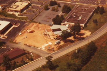A view from the air of the Reston headquarters building under construction.  (Source: National Model Aviation Museum Archives, AMA Collection #0001.)