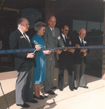 The Ribbon cutting ceremony for the Reston headquarters building, September 1983.  (Source: National Model Aviation Museum Archives, AMA Collection #0001.)