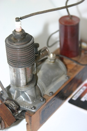 A close up view of a 1934 Brown Jr. Motor, Model B, serial number 1700, still on its original skids. (Source: National Model Aviation Museum Collection, donated by William Knepp, 1983.03.01.)