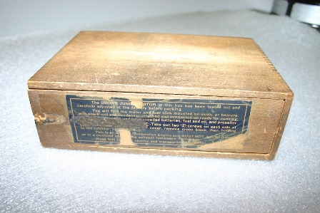 In the 1930s, Brown Jr. Motors were packaged on mounting skids in a wooden box with a sliding lid. (Source: National Model Aviation Museum Collection, donated by William Knepp, 1983.03.01.)