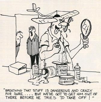 "Sometimes you can go too far after smelling glue too long, 1984.  (Source: National Model Aviation Museum Library [""Airplane Glue,"" Model Aviation, July 1984, pg. 12.])"