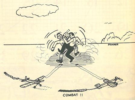 "A Control Line combat match is fought with fists, tangled in the wire of the model airplanes, 1954. (Source: National Model Aviation Museum Library [""Combat,"" Model Aviation, December 1954, pg. 2.])"