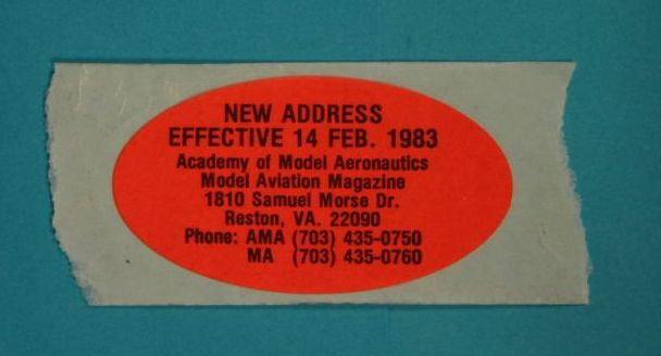 The AMA annouced its new address to members well in advance with stickers like these. (Source: National Model Aviation Museum Collection, AMA Collection, 2007.13.57.)