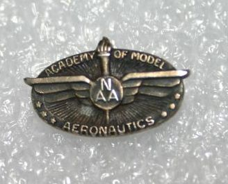 A 1940s era membership pin, a product available from the Supply and Service section when it first started in 1946.  (Source: National Model Aviation Museum Collection, donated by George B. Armstrong, 2006.49.147.)