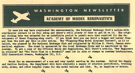 """Watch for an announcement of a new and very useful service by the Academy.  Called the Supply and Service section, the department will have available a supply of aviation periodicals, training aids, plans and other helpful items for the model builder and club.  No, no supplies or motors."""