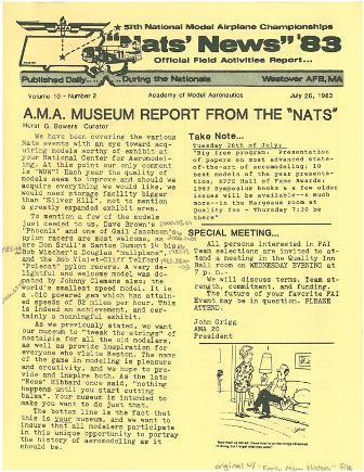 """we want our museum to 'tweak the strings' of nostalgia for all the old modelers, as well as provide inspiration for everyone who visits Reston.""  (Source: National Model Aviation Museum Archives, AMA Collection, #0001. [Nats News, July 26, 1983.])"