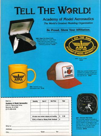 "Ad for AMA related products sold through Supply and Service, 1994.  Source: National Model Aviation Museum Library. [""Tell the World.""  Model Aviation, January 1994.])"