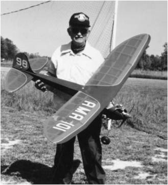 August Kleinhans with his AMA number-marked model, unknown date. (Source: National Model Aviation Museum Archives, AMA History Program Collection #0018.)