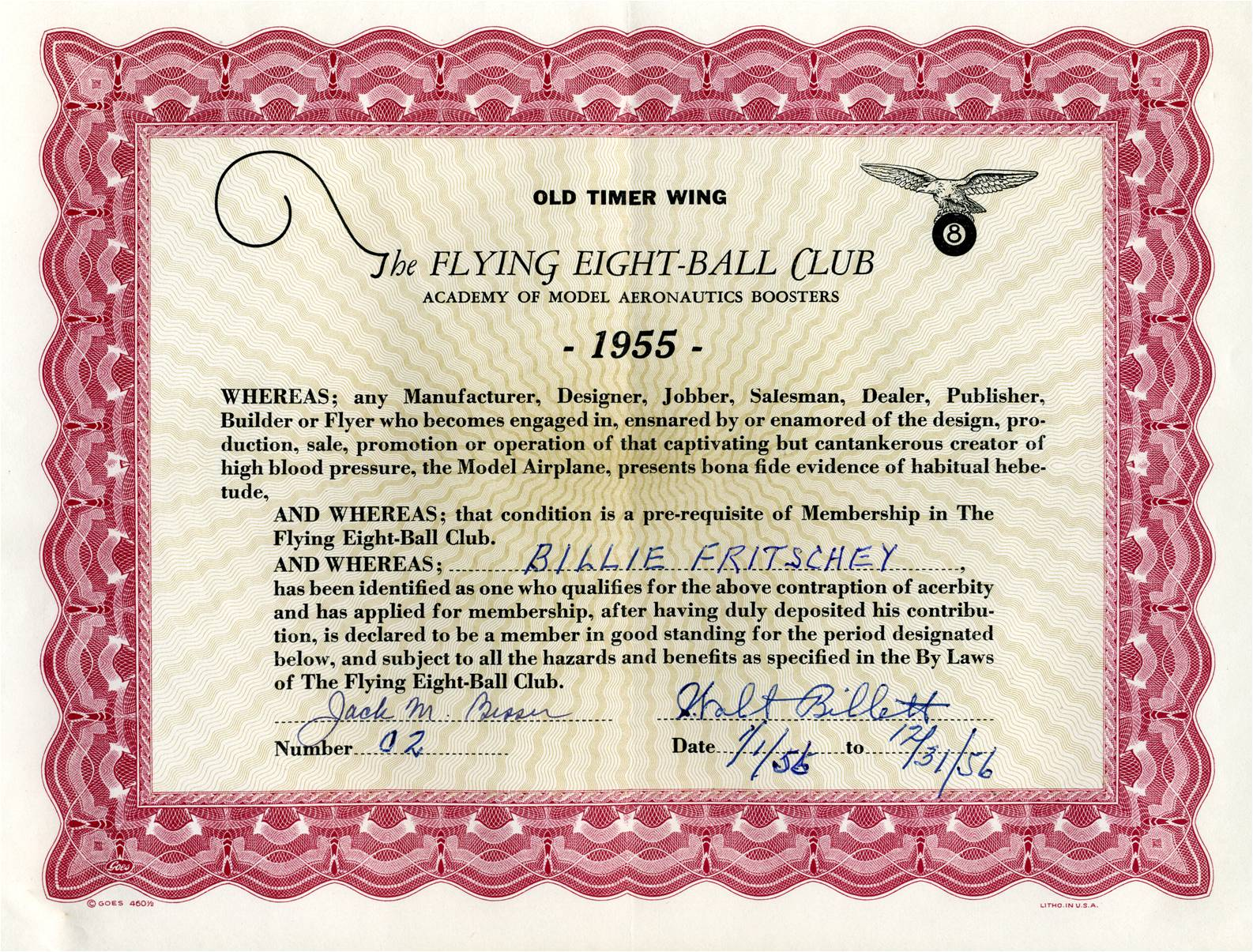 Flying Eight-Ball Club Old Timer Wing certificate, 1955. (Source: National Model Aviation Museum Archives, AMA Collection #0001.)