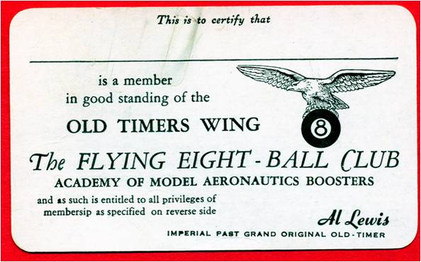 Front of club membership card, unknown date. (Source: National Model Aviation Museum Archives, AMA Collection #0001.)