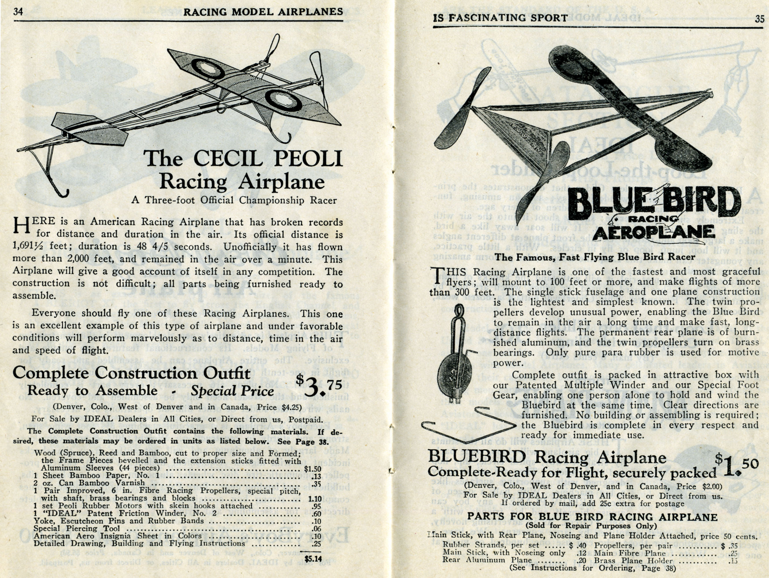 Catalog, How to Build and Fly Model Airplanes: Catalogue of Ideal Supplies for Model Airplane Builders, pages 34 and 34, 1928. (Source: National Model Aviation Museum Archives, Collection #0043)