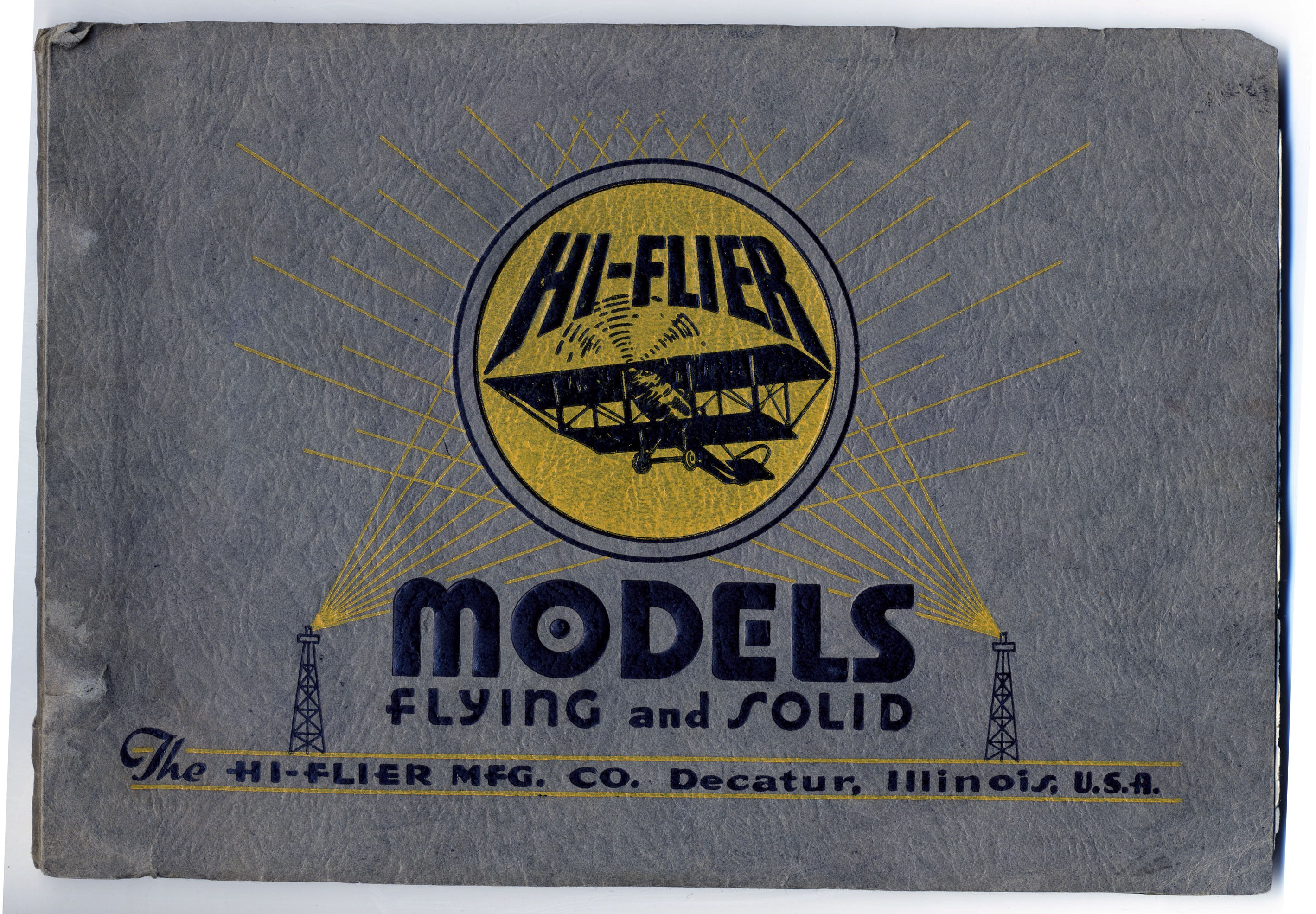 Catalog for hobby shop displays, front and inside page, Hi-Flier Manufacturing Company, c. 1930s-1940s. (Source: National Model Aviation Museum Archives, Manufacturers and Companies Collection #0043)