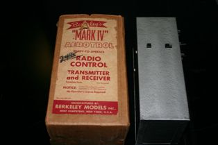 "Berkeley's Mark IV Aerotrol Radio Transmitter, The ""Notice"" on the box reads, ""Notice: Crystal Controlled Transmitter Operates on 27.255 Frequency No Operator's License Required!""  (Source: National Model Aviation Museum, Hulka Collection donated by Rhonda Egler, 2000.29.270.)"