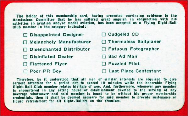 Back of club membership card, unknown date. (Source: National Model Aviation Museum Archives, AMA Collection #0001.)