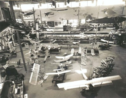 A good overall shot of the museum displays in the Reston, VA headquarters building, unknown year. (Source: National Model Aviation Museum Archives, AMA Collection, #0001.)